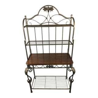 Contemporary Bronze Metal & Wood Kitchen Rack