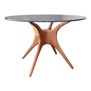Danish Modern Organic Modernism Carved Walnut Pedestal Glass Top Dining Table