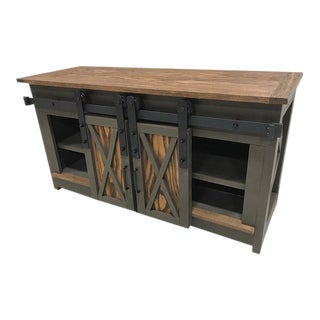 Farmhouse Sliding Door Credenza Media Cabinet
