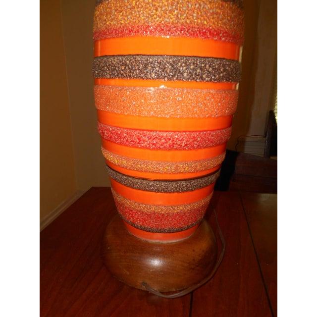 Image of Mid-Century Walnut Ceramic Lamp