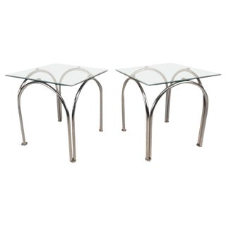 Mid-Century Modern Glass and Chrome End Tables