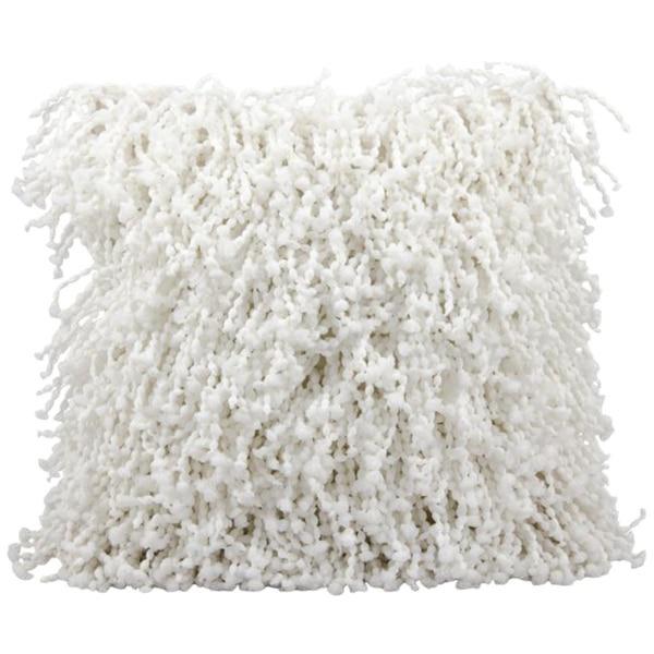 Modern White Shag Pillow - Image 1 of 2