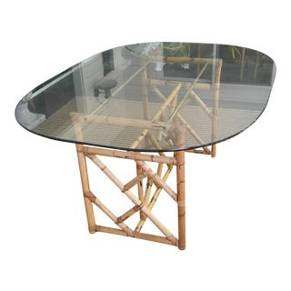 Chinese Chippendale Rattan Bamboo & Glass Dining Table