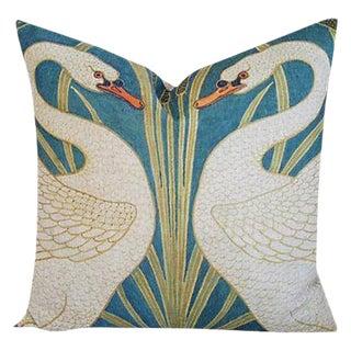 "20"" Graceful Double Swans Linen Feather/Down Accent Pillow"