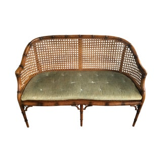 Vintage Faux Bamboo & Cane Settee
