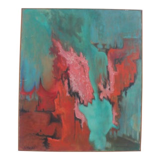 Vintage Expressionist Painting by Etta, 1973
