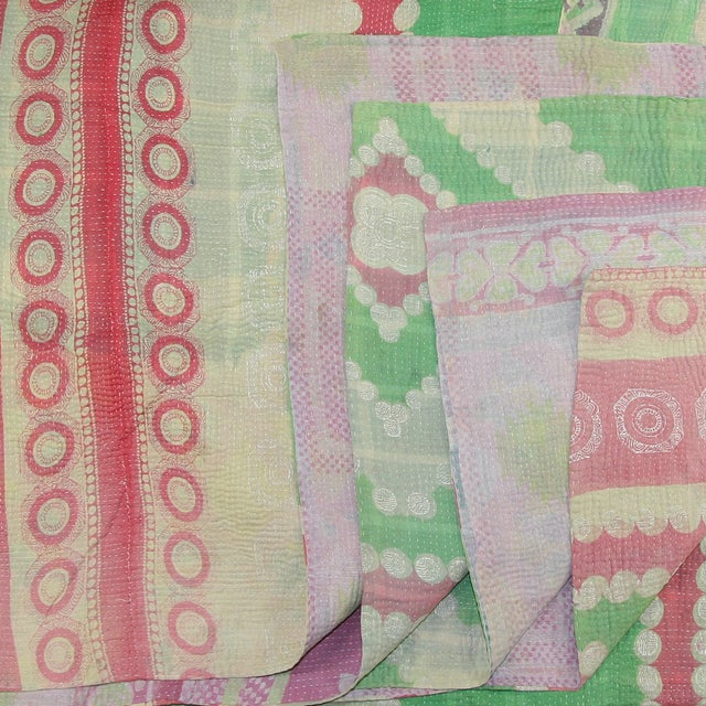 Vintage Turkish Kantha Pink & Green Quilt - Image 2 of 2