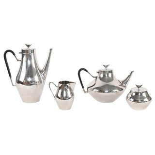"""1950S """"DENMARK"""" SILVER COFFEE AND TEA SERVICE BY JOHN PRIP FOR REED & BARTON"""