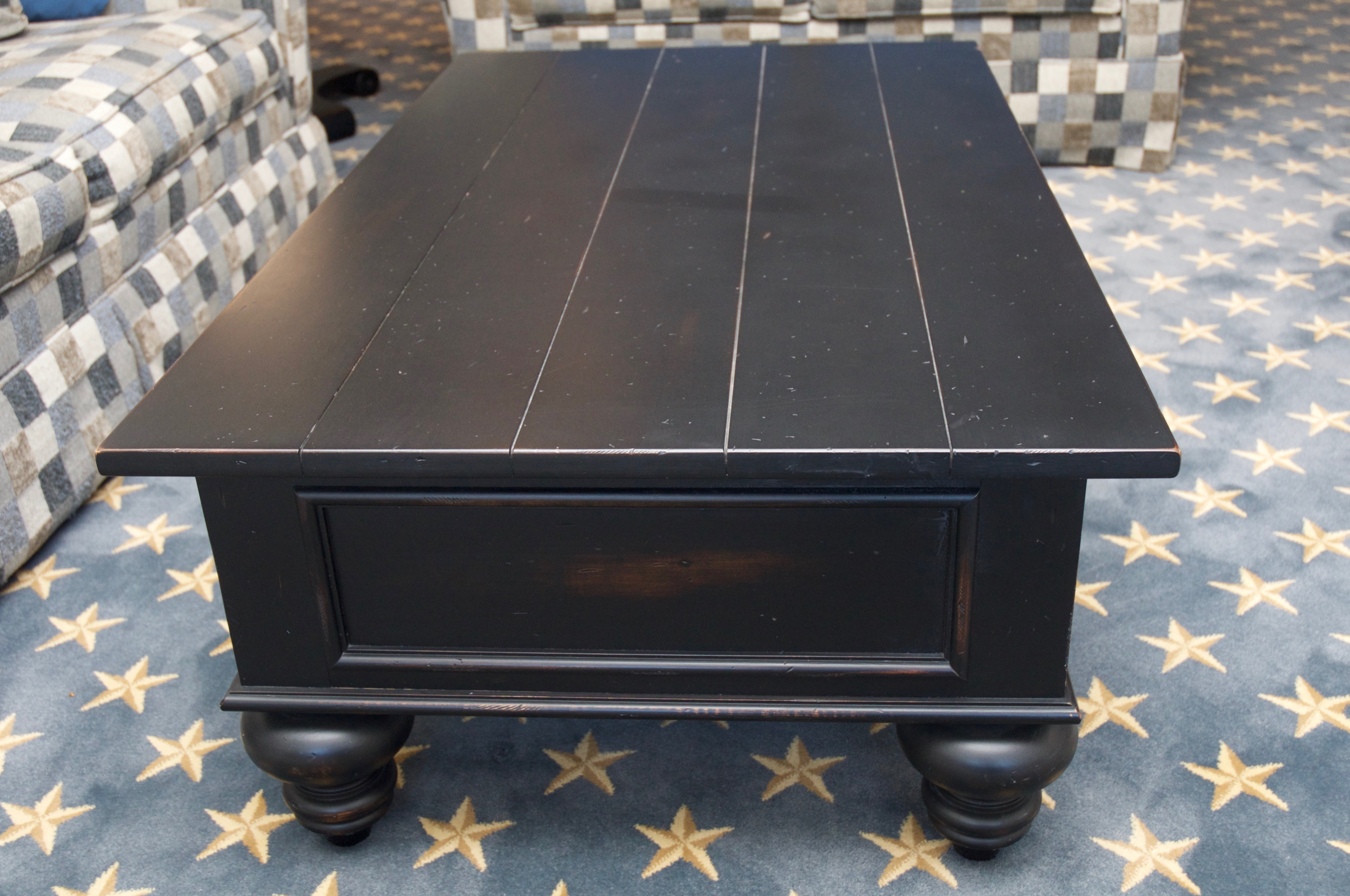 ethan allen henry black plank top coffee table | chairish