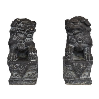 Cast Stone Foo Dog Statues - a Pair