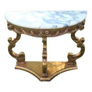 Marble Top Gilt Wood Half Moon Table