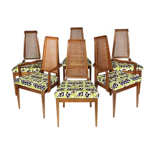 1960S Caned Back Dining Room Chairs - Set of 6