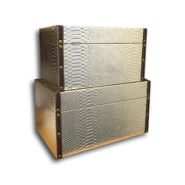 Gold Faux-Snakeskin Nesting Boxes - A Pair - Image 2 of 6