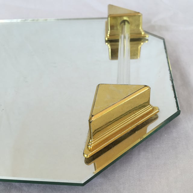 Vanity Tray With Lucite and Faux Brass Handles - Image 4 of 7