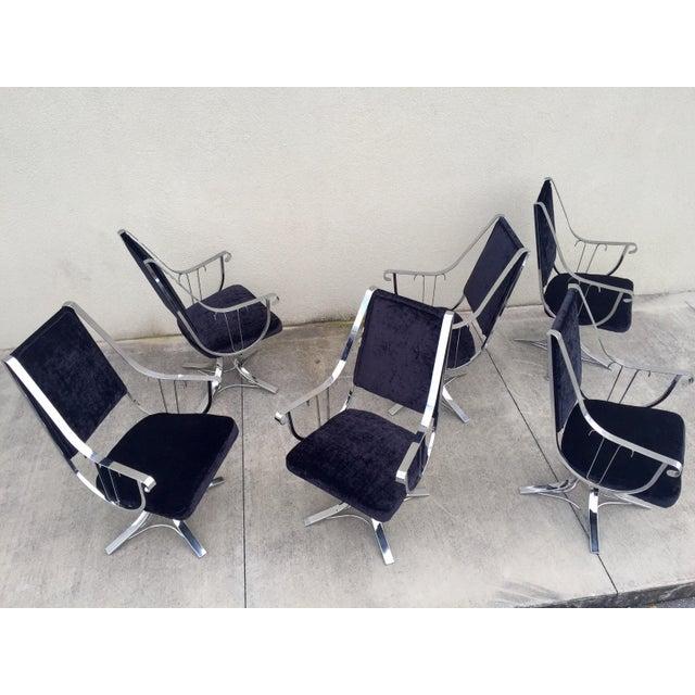 Mid-Century Chrome Swivel Chairs- Set of 6 - Image 4 of 11