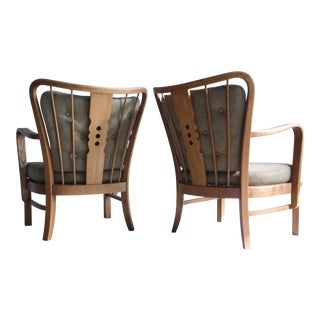 Fritz Hansen Armchairs in Elm Wood and Wool - a Pair