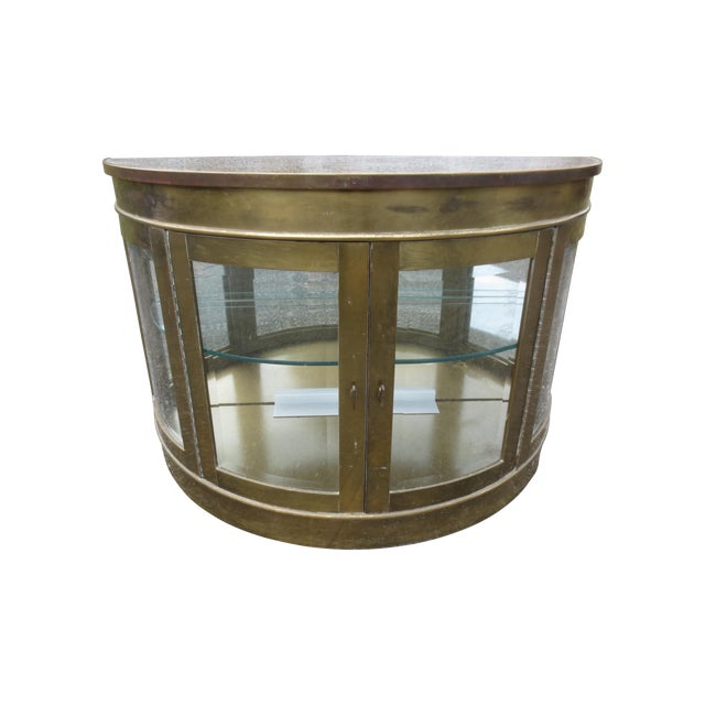 Mastercraft 1970s Lighted Demi-Lune Brass Console - Image 1 of 10