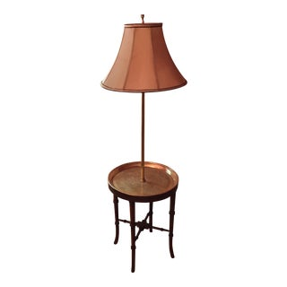 Wood Bamboo Etched Brass Table Floor Lamp