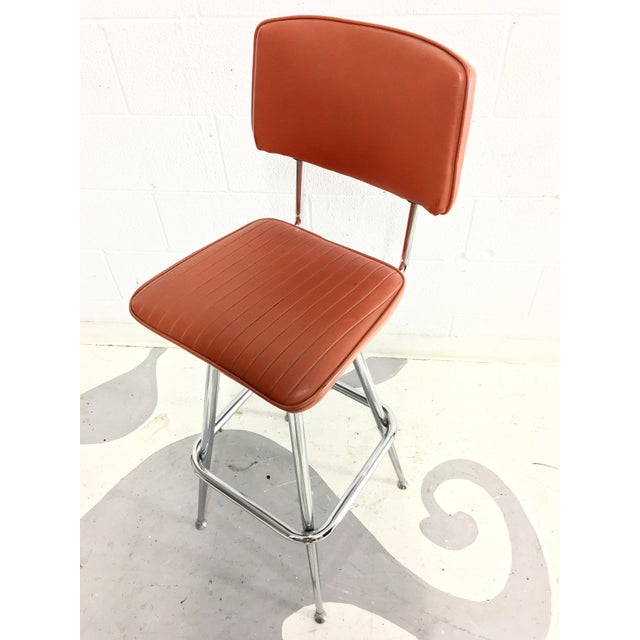 Mid-Century Chrome and Orange Vinyl Barstool - Image 5 of 6