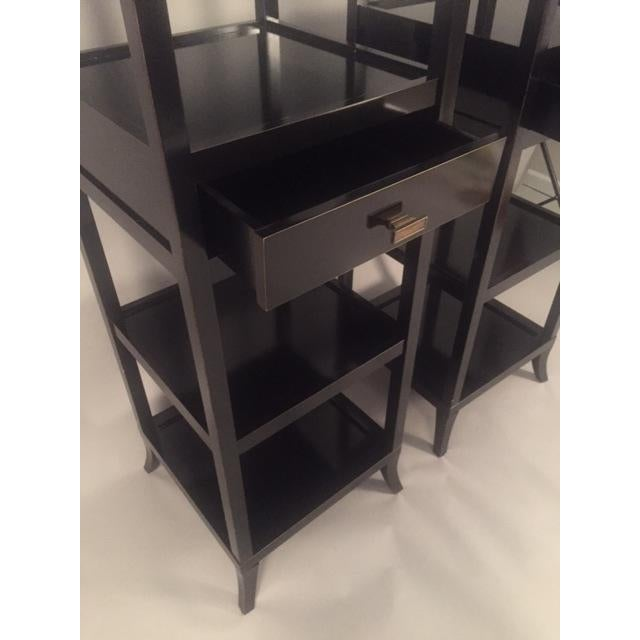 Contemporary Wood Black Lacquered Etagere Shelves - A Pair - Image 5 of 9