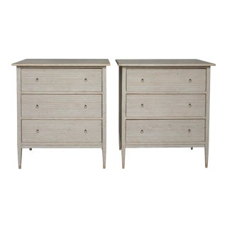 Pair of Swedish Chests of Drawers with Fluted Drawers (#62-04)