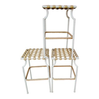 Tropitone Mid Century Modern Pation Bar Stools - Set of 3 Barstools Chairs