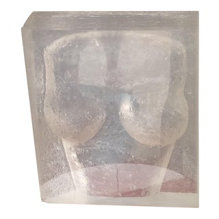 Vintage 1970 Carved Acrylic Lucite Bust Sculpture