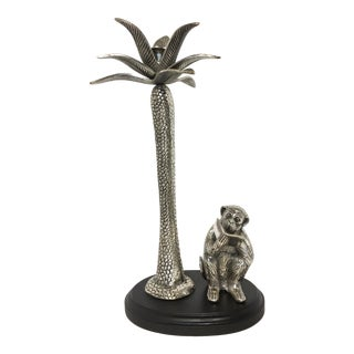 Pewter Palm Tree and Monkey Candle Holder