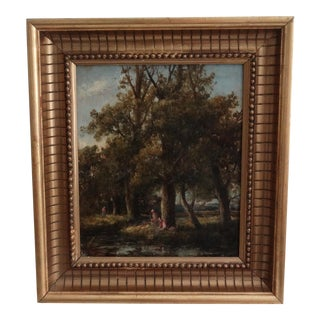 G A Boyle Antique Oil Painting Landscape with Fisherman