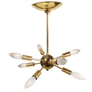 Eight Arm Brass Sputnik Chandelier