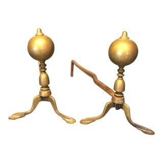 Antique Colonial Sphere Brass & Iron Andirons- A Pair