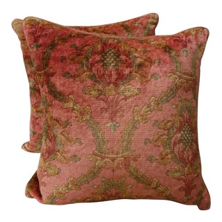 Vintage Printed Mohair Velvet Pillows - a Pair