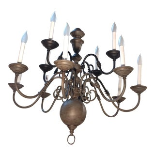 Traditional Eleven Light Brass Chandelier