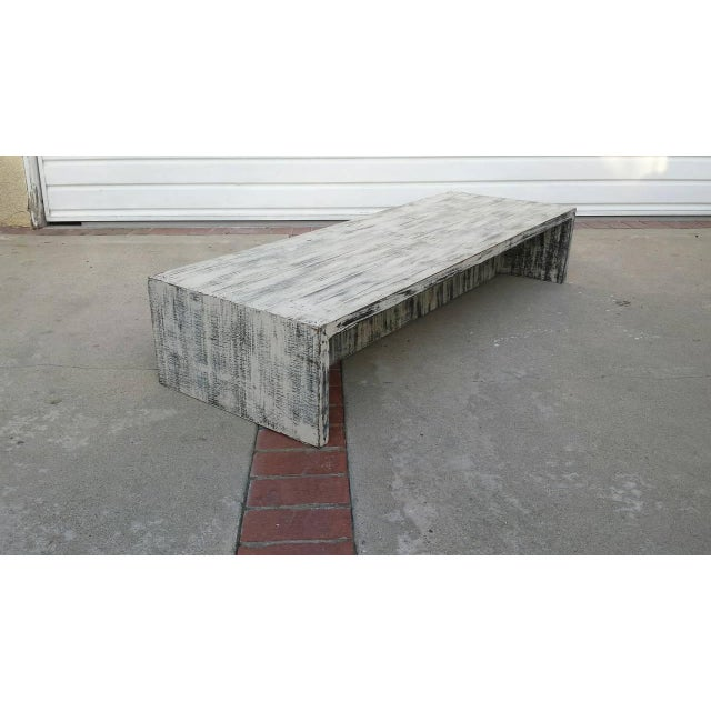 Mid-Century Distressed Painted Low Coffee Table