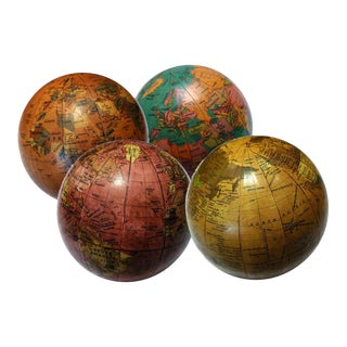 Vintage Style Mini Globes - Set of 4