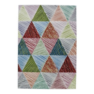 Triangle Patterned Rainbow Rug - 8' x 11'