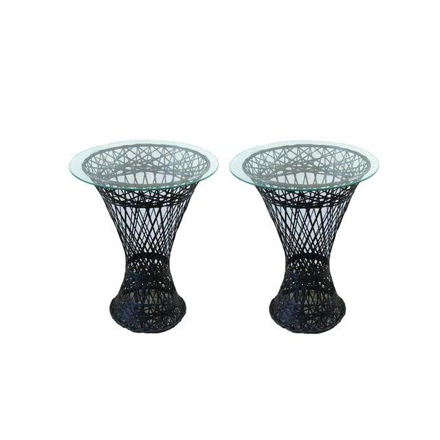 Image of Vintage Black Spun Fiberglass Side Tables - A Pair
