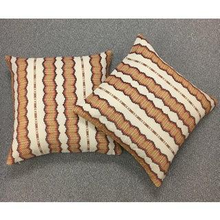 """22"""" Cinnamon Striped Pillows, Wyatt - a Pair"""