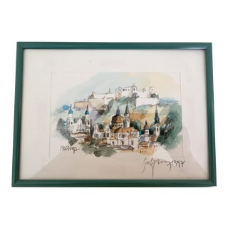 Watercolor Painted Sketch of Salzburg, Austria