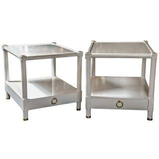 Baker White Lacquered End Tables - A Pair