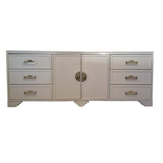 White Chinoiserie Style Credenza