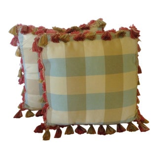 Plaid Pillows With Tassels - A Pair