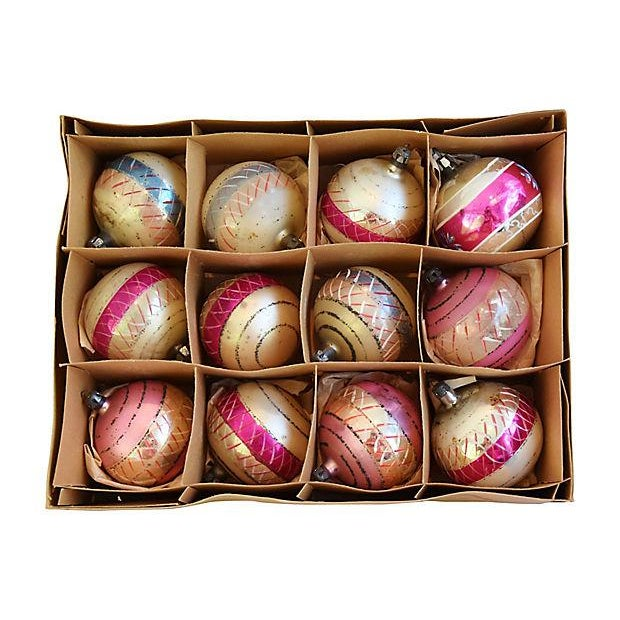Pastel Pink 1960s Christmas Ornaments w/Box - Set of 12 - Image 2 of 7