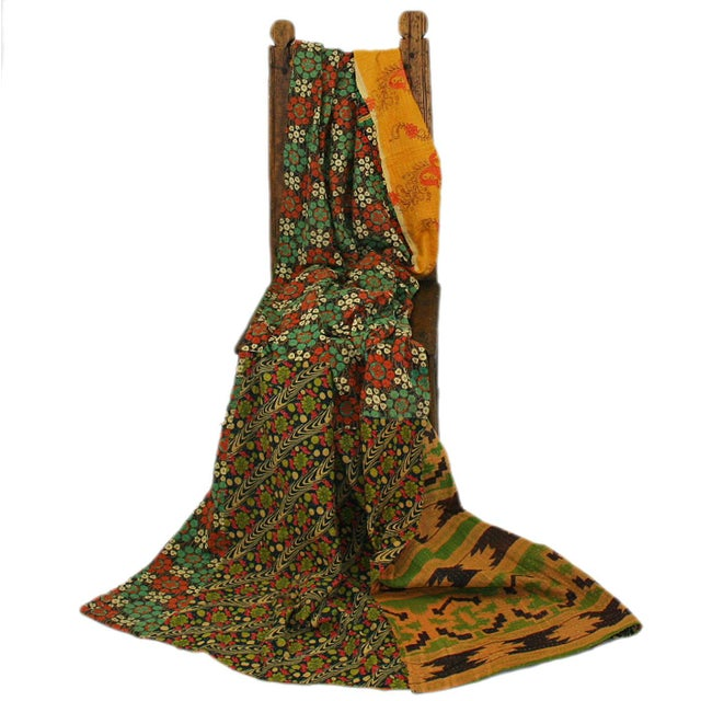 Vintage Floral Yellow Kantha Quilt - Image 2 of 2