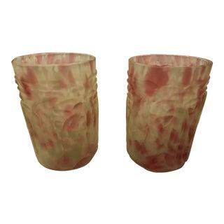 Northwood Vaseline Glass Tumblers - A Pair