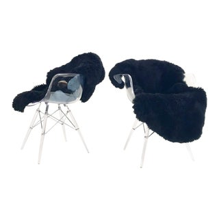 Mid-Century Style Lucite Chairs with Black Brazilian Sheepskin Throws - Pair