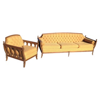 Mid-Century Hausske-Harlen Tufted Sofa & Chair Set