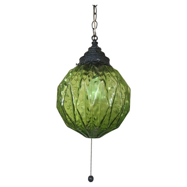 Image of Mid-Century Green Glass Hanging Swag Lamp