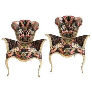 French Tufted Chairs in Alexander McQueen Fabric - A Pair