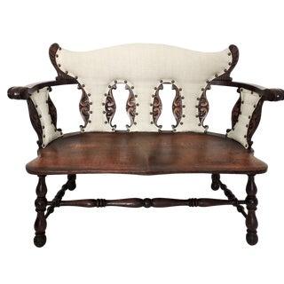 Antique Jacobean Tiger Oak Bench or Settee